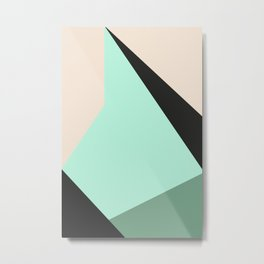 Geometric Stylized Mountain / Digital Mountain / Minimalist Nature Print Metal Print