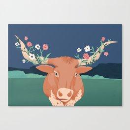 Longhorn Florals Canvas Print
