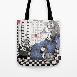 William the Conqueror and the 9 Feet Tall Caucus Race Tote Bag