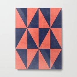 Geometric Triangle Pattern - Coral, Blue Metal Print
