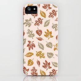 Block Printed Fall Leaves iPhone Case