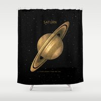 saturn Shower Curtains featuring Saturn by Terry Fan