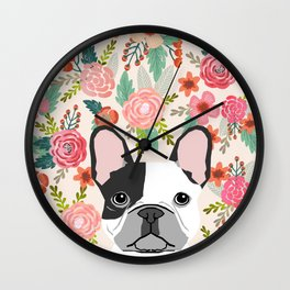 French Bulldog florals cute spring summer dog gifts bright happy frenchie puppy dog portraits  Wall Clock
