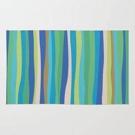 Blue Green Stripes Waves Rug