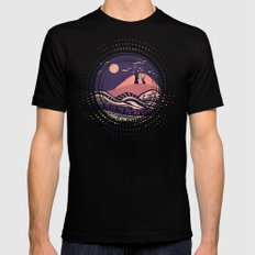 Psychedelic mountains (colour option) Black 2X-LARGE Mens Fitted Tee
