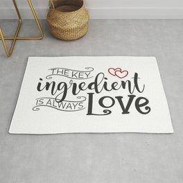 The Key Ingredient is Always Love Valentine Quote Rug