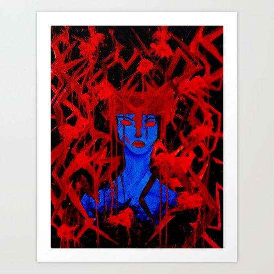 Blue Warrior Art Print