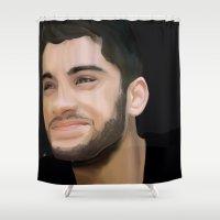 zayn malik Shower Curtains featuring Prince Zayn Malik by gustinobrien