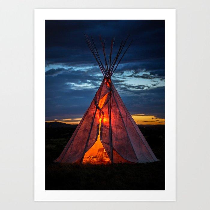 Southwestern Teepee Sunset Kunstdrucke