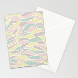 Pastel yellow green coral pink abstract geometric waves Stationery Cards
