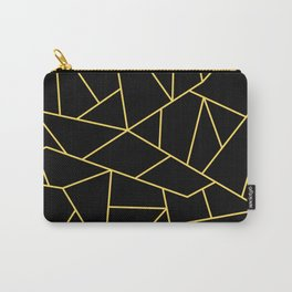 Mustard Yellow Mosaic Lines On Darkest Black Carry-All Pouch