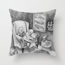Whale Reader Throw Pillow