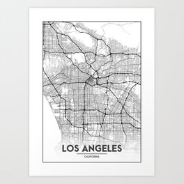 Minimal City Maps - Map Of Los Angeles, California, United States Art Print