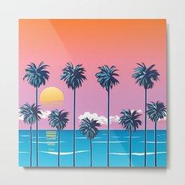 Palms with Pink Sky Metal Print
