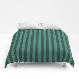 Viridian Green Stripes Pattern Comforters