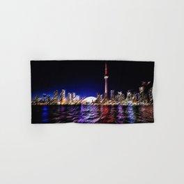 Toronto Nighttime Cityscape Landscape Painting by Jeanpaul Ferro Hand & Bath Towel
