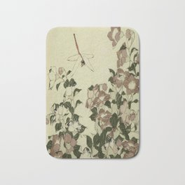 Hokusai – campanula and odonata -insect,flower, nature,garden Bath Mat