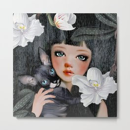 Sphynx Among Orchids Metal Print