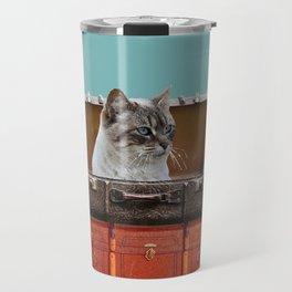 Grey white Cat sitting in old suitcase Travel Mug
