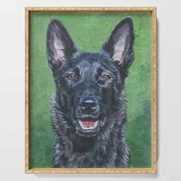 Dutch Shepherd dog portrait art from an original painting by L.A.Shepard Serving Tray