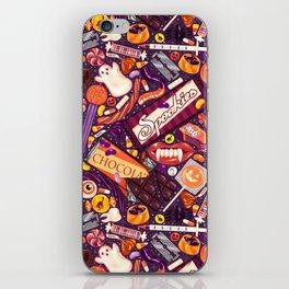 Creepy Halloween Candy on Purple iPhone Skin