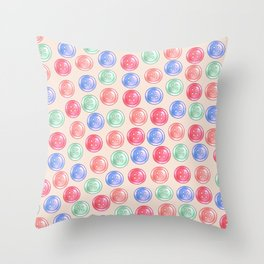 Colourful Button Pattern - Pastel Version Throw Pillow