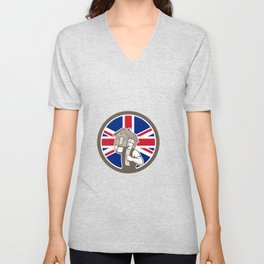 British House Removal Union Jack Flag Icon Unisex V-Neck