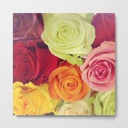 Rainbow Roses Metal Print