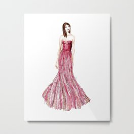 Fashion illustration raspberry dress Metal Print