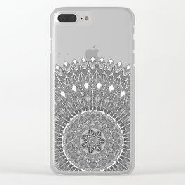 Black and White Feather Mandala Boho Hippie Clear iPhone Case