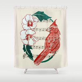 The Birds Chorus  ( Cardinal and Rose of Sharon) Shower Curtain