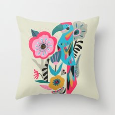 PARROT AT THE GARDEN Throw Pillow