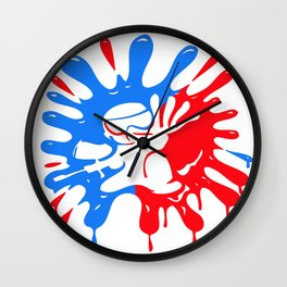 Paintball Splatter Red & Blue with Mascot Wall Clock