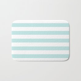 Simply Striped in Succulent Blue and White Bath Mat