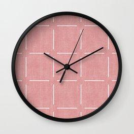 Block Print Simple Squares in Coral Wall Clock