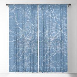 Sheffield City Map of England - Blueprint Sheer Curtain