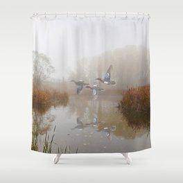 Cinnamon Teal Ducks in the Mist Shower Curtain
