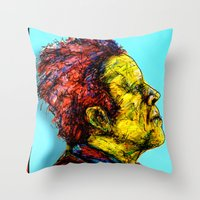 tom waits Throw Pillows featuring Tom Waits by Alec Goss