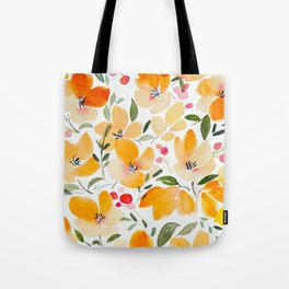 Yellow and Orange Floral Tote Bag