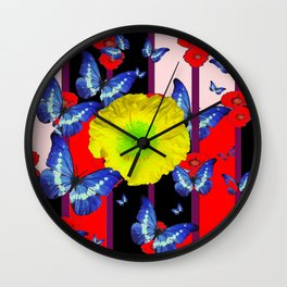 RED-BLACK  BLUE BUTTERFLY &  YELLOW FLOWER FLORAL Wall Clock