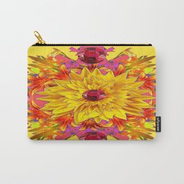 Red Ruby Sunflower Floral Pink-yellow Design. Carry-All Pouch