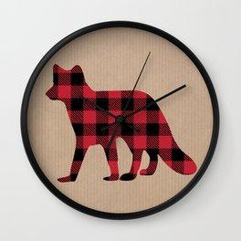 Rustic Plaid Fox Wall Clock