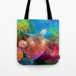 Sea Turtle In Living Color Tote Bag