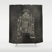 r2d2 Shower Curtains featuring R2D2 by LindseyCowley