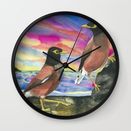 Common Myna Birds Wall Clock