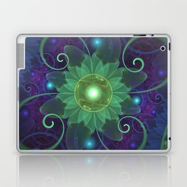 Glowing Blue-Green Fractal Lotus Lily Pad Pond Laptop & iPad Skin