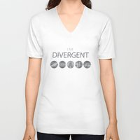 divergent V-neck T-shirts featuring I am Divergent by BlueCordial