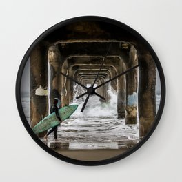 Surfer under Manhattan Beach Pier Wall Clock