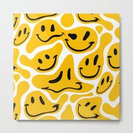 TRIPPY MELTING SMILE PATTERN Metal Print
