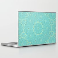 aelwen Laptop & iPad Skins featuring Abstract pastel blue and yellow floral kaleidoscope by Wendy Townrow